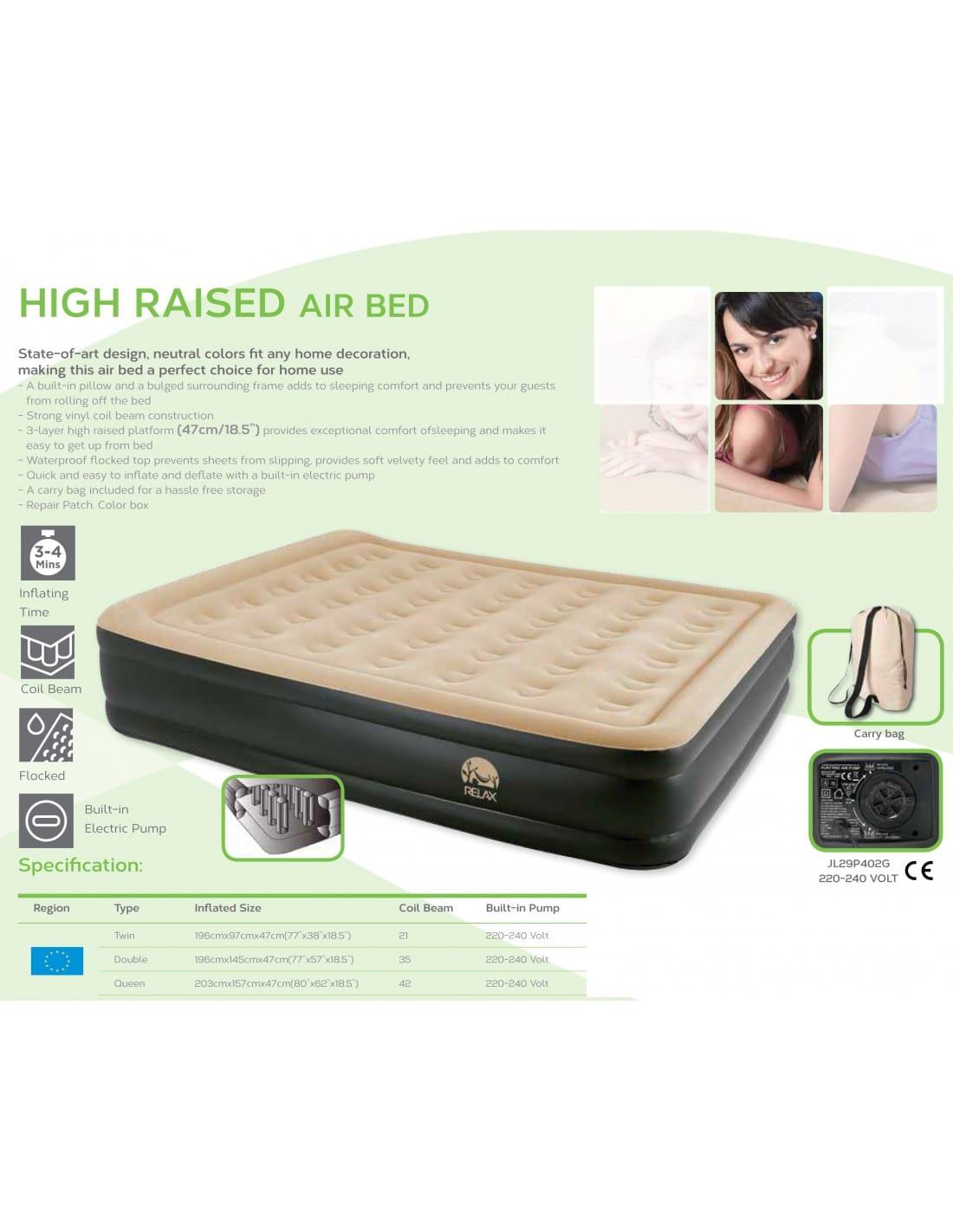 matelas lit gonflable floqu queen pompe lectrique. Black Bedroom Furniture Sets. Home Design Ideas